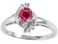 Tommaso Design Genuine Ruby and Diamond Ring