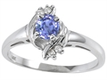 Tommaso Design Genuine Tanzanite and Diamond Ring