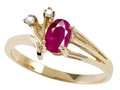Tommaso Design™ Genuine Ruby and Diamond Ring