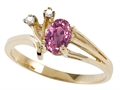 Tommaso Design Genuine Pink Tourmaline and Diamond Ring