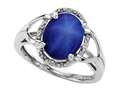Tommaso Design Oval 10x8mm Created Star Sapphire and Diamond Ring