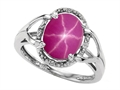 Tommaso Design™ Oval 10x8mm Created Star Ruby and Diamond Ring