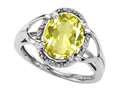 Tommaso Design Oval 10x8mm Genuine Lemon Quartz and Diamond Ring
