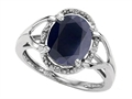 Tommaso Design™ Oval 10x8mm Genuine Black Sapphire and Diamond Ring