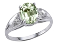 Tommaso Design Genuine Green Amethyst and Diamond Engagement Ring