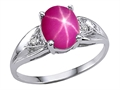 Tommaso Design™ Created Star Ruby and Genuine Diamond Ring