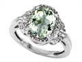 Tommaso Design Oval 10x8mm Genuine Green Amethyst and Diamond Ring