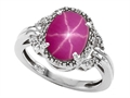 Tommaso Design Oval 10x8mm Created Star Ruby and Diamond Ring