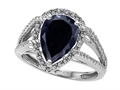 Tommaso Design Pear Shape 11x8mm Genuine Black Sapphire and Diamond Ring