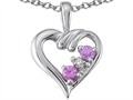 Tommaso Design Genuine Pink Sapphire and Diamond Heart Pendant