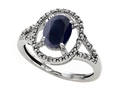 Tommaso Design Genuine Black Sapphire and Diamond Ring