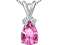 Tommaso Design™ Pear Shape 8x6mm Simulated Pink Topaz And Genuine Diamond Pendant