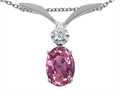 Tommaso Design™ Oval 7x5mm Genuine Pink Tourmaline and Diamond Pendant