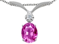 Tommaso Design™ Oval 7x5mm Simulated Pink Topaz And Genuine Diamond Pendant