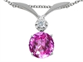 Tommaso Design™ Round 7mm Simulated Pink Topaz And Genuine Diamond Pendant