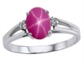 Tommaso Design Created Star Ruby and Genuine Diamonds Ring