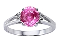 Tommaso Design™ Simulatd Pink Topaz and Genuine Diamond Ring