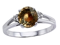 Tommaso Design™ Genuine Smoky Quartz and Diamond Ring