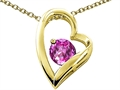 Tommaso Design™ Heart Shape Round 7mm Simulated Pink Tourmaline Pendant