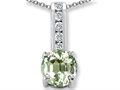 Genuine Green Amethyst And Genuine Cubic Zirconia Pendant