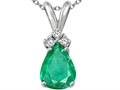 Tommaso Design Genuine Emerald and Diamond Pendant