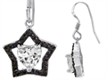 Original Star K™ 925 Heart Shaped Genuine Cubic Zirconia Black Star Hanging Hook Earrings