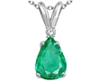 Tommaso Design™ Pear Shape Genuine Emerald and Diamond Pendant