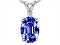 Tommaso Design™ Simulated Tanzanite Oval 9x7mm And Genuine Diamond Pendant