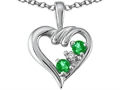 Tommaso Design Genuine Emerald and Diamond Heart Pendant