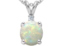 Tommaso Design™ 7mm Round Genuine Opal and Diamond Pendant