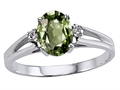 Tommaso Design Oval 7x5mm Genuine Green Sapphire Ring