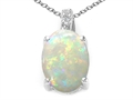 Tommaso Design Genuine Oval Opal and Diamond Pendant