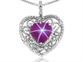 Tommaso Design Heart Shape 8mm Created Star Ruby and Diamond Pendant