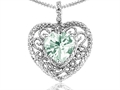 Tommaso Design™ Heart Shape 8mm Genuine Green Amethyst and Diamond Pendant