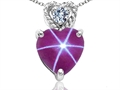 Tommaso Design 6mm Heart Shape Created Star Ruby and Diamond Pendant