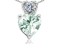 Tommaso Design™ 6mm Heart Shape Genuine Green Amethyst and Diamond Pendant