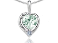 Tommaso Design™ Heart Shape Genuine Green Amethyst and Diamond Pendant