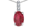 Tommaso Design Genuine Oval Ruby and Diamond Pendant