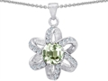 Original Star K Round Genuine Green Amethyst Flower Pendant