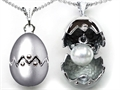Original Star K Egg Pendant with June Birthstone Simulated Pearl Surprise Inside