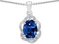 Tommaso Design Oval Genuine Sapphire and Diamond Pendant