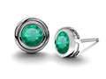 Original Star K Round Genuine Emerald Earring Studs