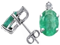 Tommaso Design™ Genuine Emerald and Diamond Earrings Studs