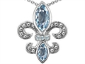 Original Star K™ Genuine Aquamarine and Diamond Fleur De Lis Pendant