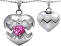 Original Star K Puffed Heart Pendant with October Birthstone Simulated Pink Sapphire Surprise Inside