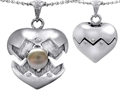 Original Star K Puffed Heart Pendant with June Birthstone 7mm Simulated Pearl Surprise Inside