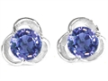 Original Star K™ Round Genuine Iolite Flower Earrings Studs