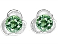 Original Star K Round 6mm Simulated Green Sapphire Flower Earring Studs