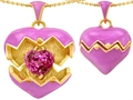 Original Star K Puffed Pink Enamel Heart Pendant with October Birthstone Simulated Pink Sapphire Surprise Inside