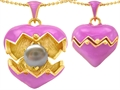 Original Star K Puffed Pink Enamel Heart Pendant with June Birthstone Genuine 7mm Pearl Surprise Inside